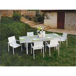 Dinning set 7 pcs White Aluminium