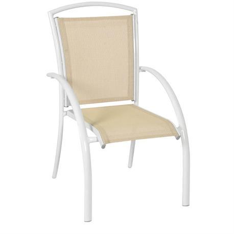 Stackable White Aluminium armchair