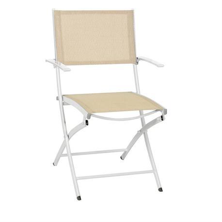 Folding White Aluminium armchair