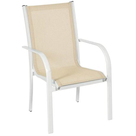 Πολυθρόνα στοιβαζόμενη Αλουμίνιο λευκό