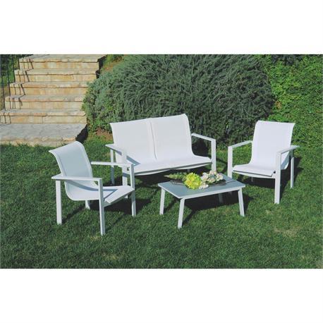 Καθιστικό σετ 4 τεμ. Αλουμίνιο λευκό