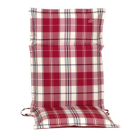 Cushion red plaid hi back 114 cm