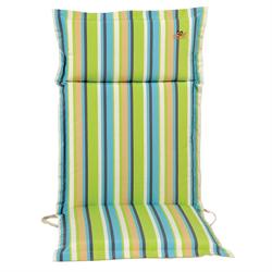 Cushion green stripe hi back 114 cm