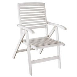 Folding armchair 5 positions low back White