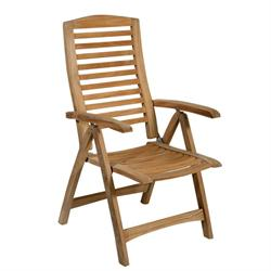 Folding armchair 5 positions hi back Teak
