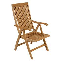 Folding armchair 5 positions hi back Teak