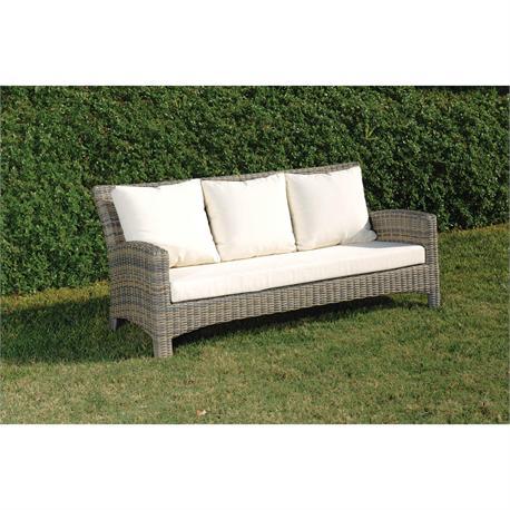 Καναπές 3 θέσεων με μαξιλάρια Rattan