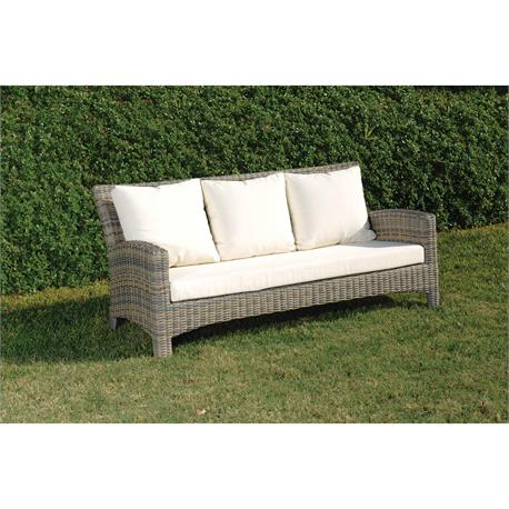 Sofa 3seats with cushions Rattan