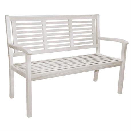 Bench 2 seats white 119x62 cm