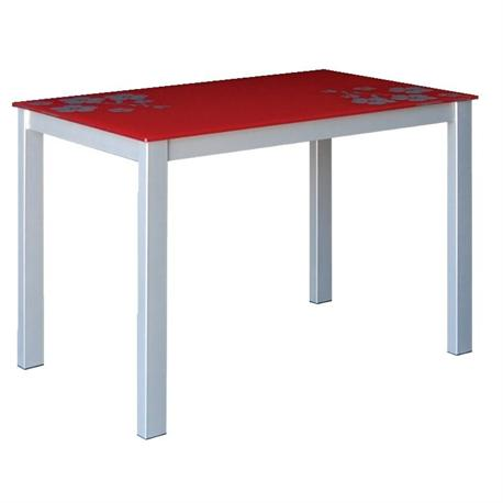 Table grey red glass 110Χ70 cm