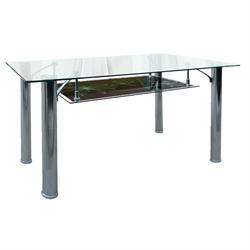 Table inox black glass 120Χ70 cm