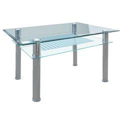 Table inox- glass 90Χ60 cm