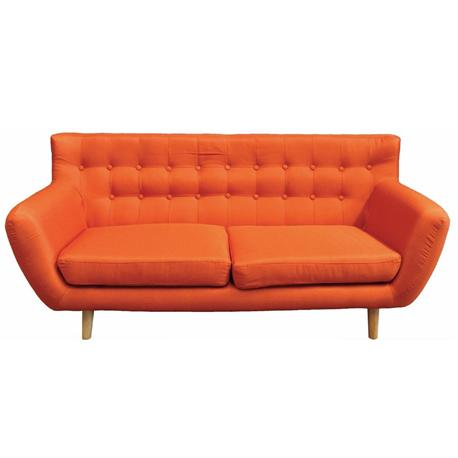 Sofa 3 seats fabric orange