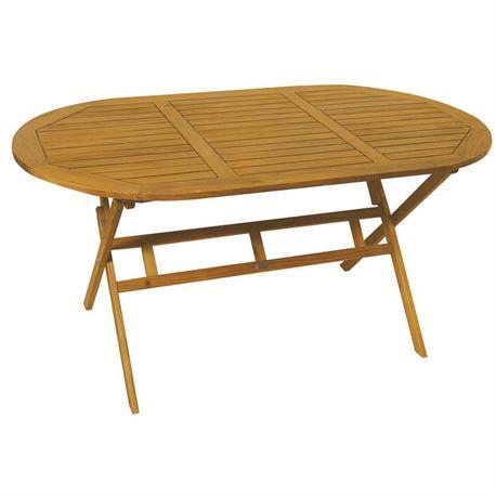 Oval folding table acacia wood 85x150 cm for Table 85 cm de large