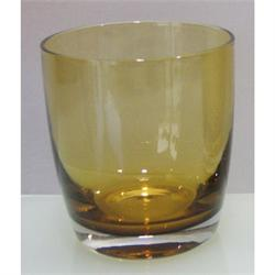 Handmade whiskey glass Irid Amber