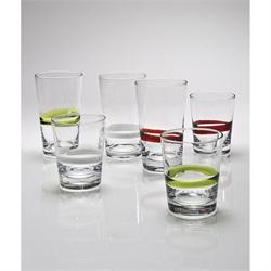 Water glass with white striped