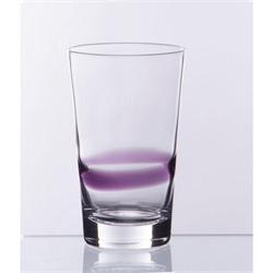 Water glass with purpple striped