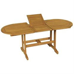 Extending oval table Acacia Wood 140+40x80 cm