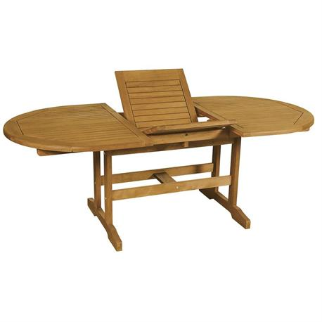 Extending oval table Acacia Wood 180+60x100 cm