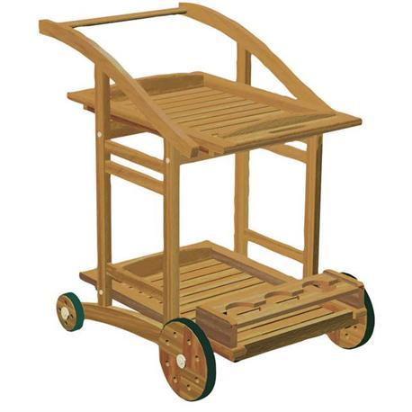 Trolley with 4 wheels Acacia Wood