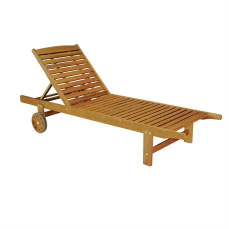 Reclining lounger Acacia Wood 197 cm