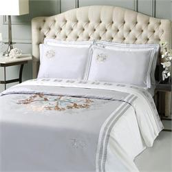 V19.69 Italia , Duvet cover double 230Χ250 +2 pillow cases OXFORD-CORAL GREY