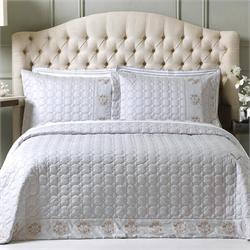 V19.69 Italia , Bedspread double 240X260 +2 pillow cases-OXFORD-CORAL GREY