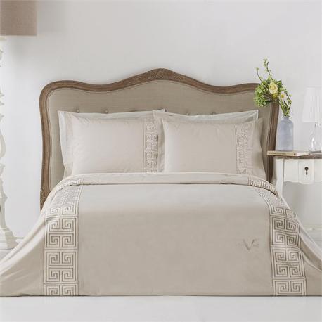V19.69 Italia , Set bedsheets double 240Χ270+2 pillow cases- OXFORD-GREEK KEY CREAM
