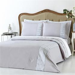 V19.69 Italia , Duvet cover double 230Χ250 +2 pillow cases OXFORD-GREEK KEY GREY