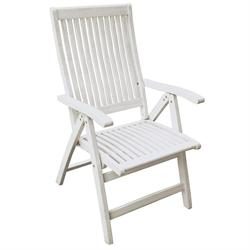 Folding armchair 5 positions high back White