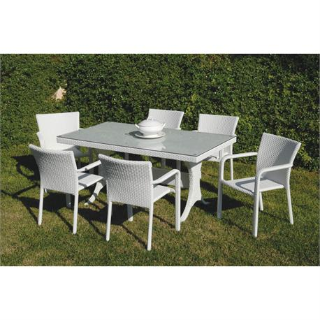 Dining set 7 pcs Rattan White