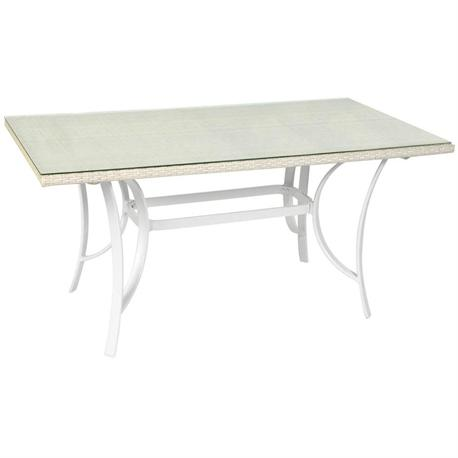 Rectangular table with glass-aluminum 85x150 cm