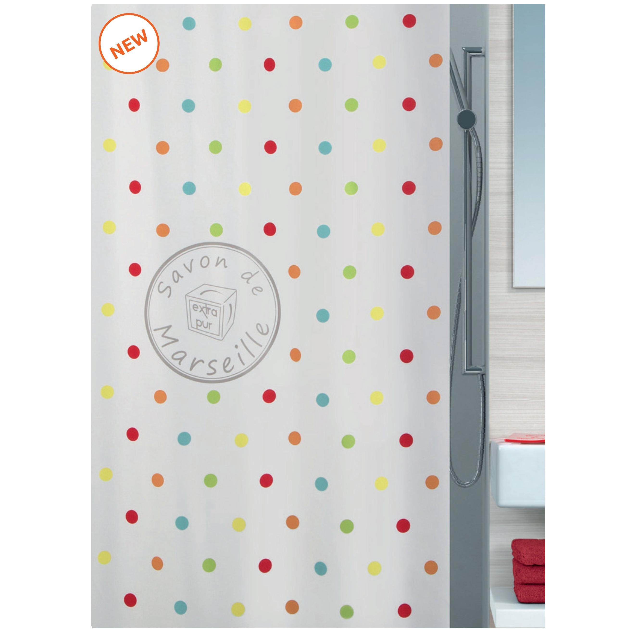 fabric shower curtain polka dot 100 polyester 180x200 cm. Black Bedroom Furniture Sets. Home Design Ideas