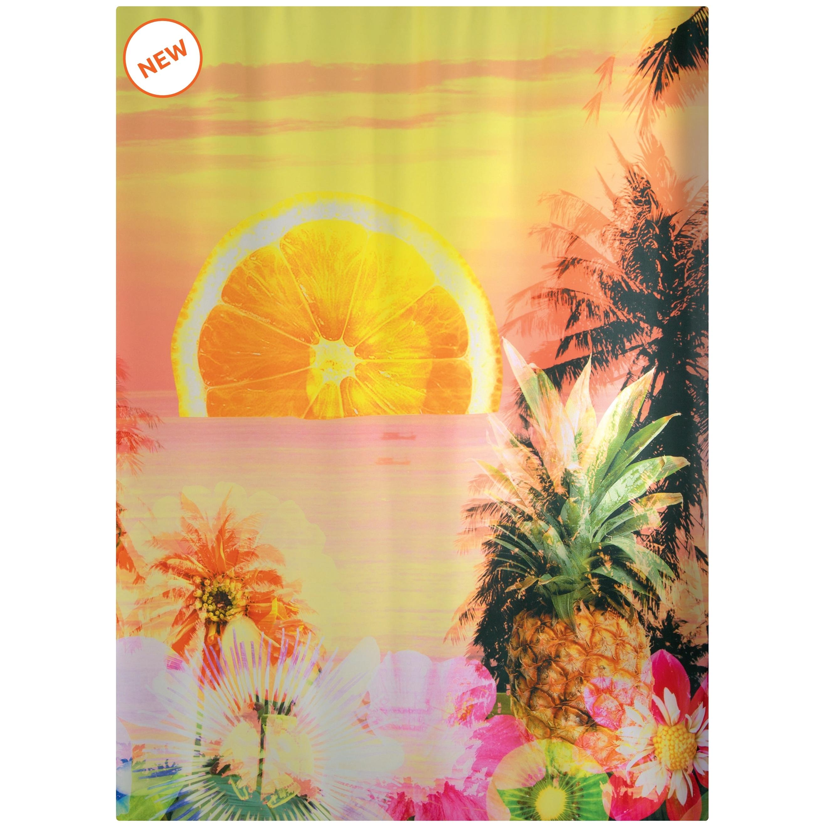 Fabric Shower Curtain Tropical 100 Polyester 180x200 Cm