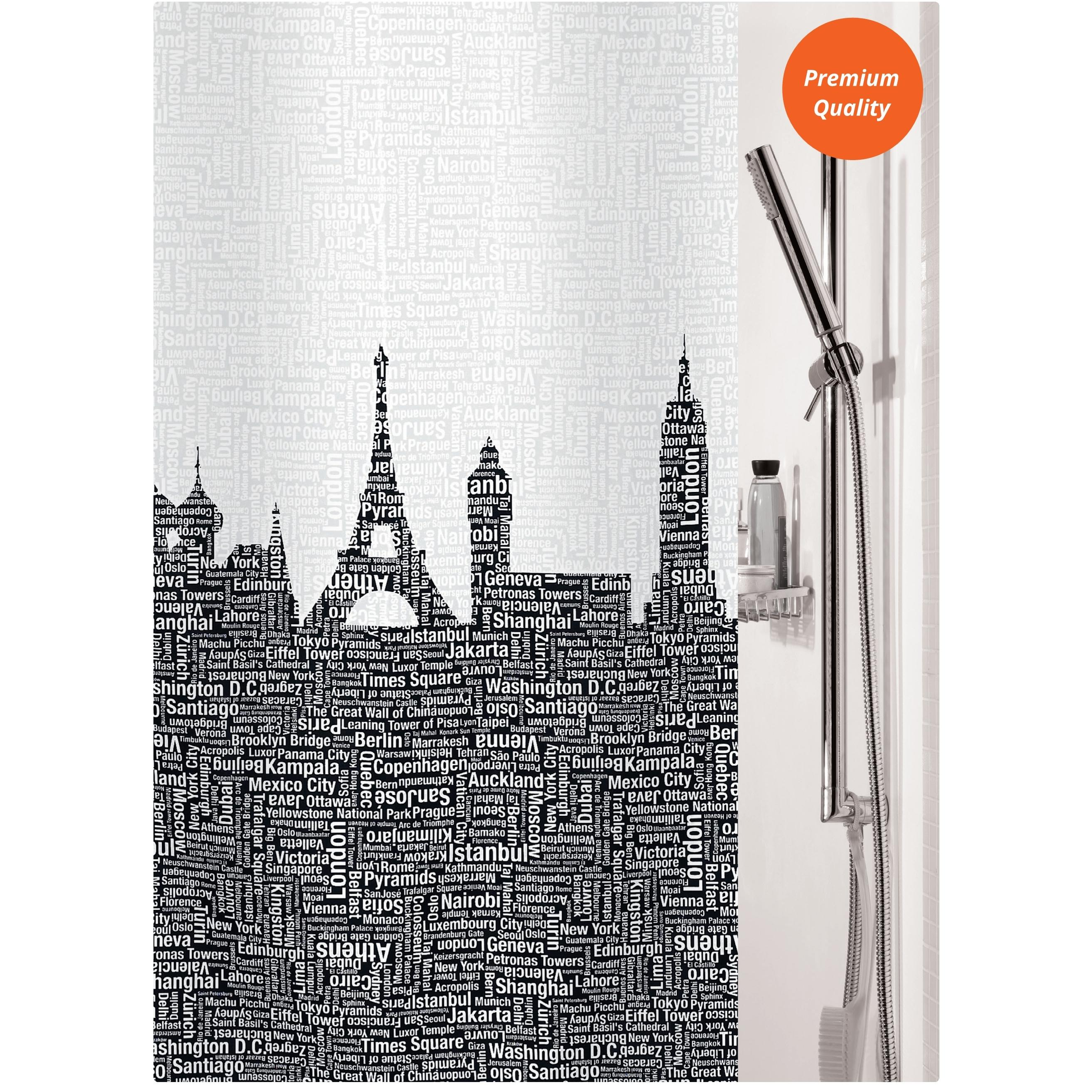 fabric shower curtain city 100 polyester 180x200 cm. Black Bedroom Furniture Sets. Home Design Ideas