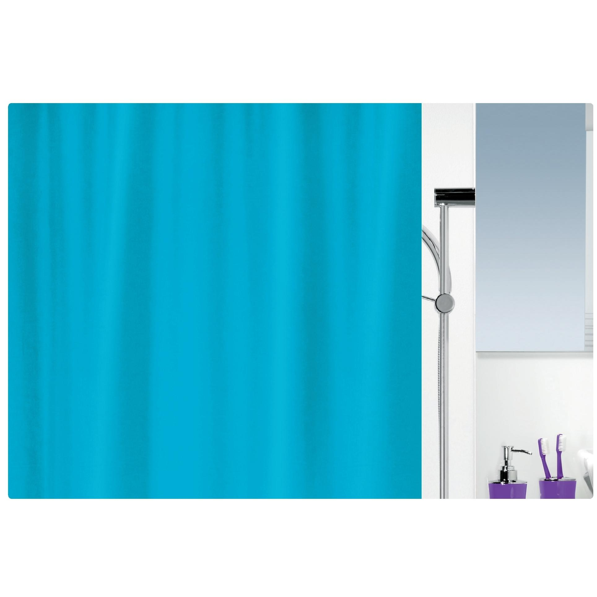 Fabric Shower Curtain Turquoise 100 Polyester 180x200 Cm