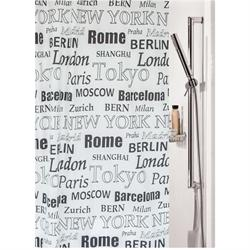Fabric shower curtain capitals 100% polyester 180X200 cm