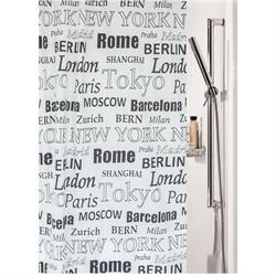Υφασμάτινη κουρτίνα μπάνιου capitals 100% polyester 180X200 cm