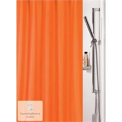 Υφασμάτινη κουρτίνα μπάνιου μονόχρωμη πορτοκαλί 100% polyester 180X200 cm