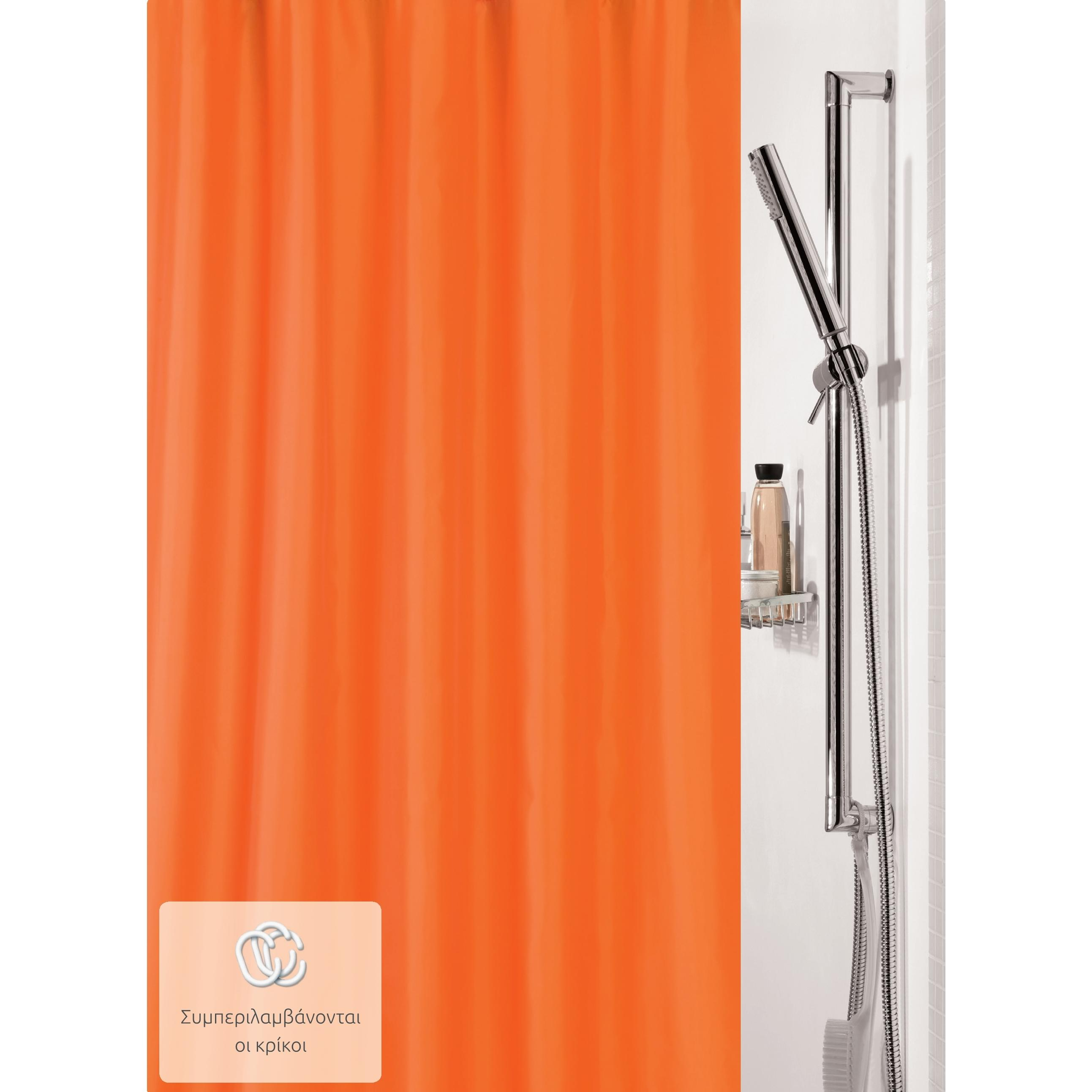 Fabric Shower Curtain Orange 100 Polyester 180X200 Cm Tap To Expand