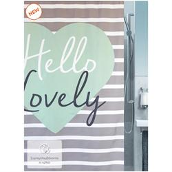 Fabric shower curtain heart 100% polyester 180X200 cm