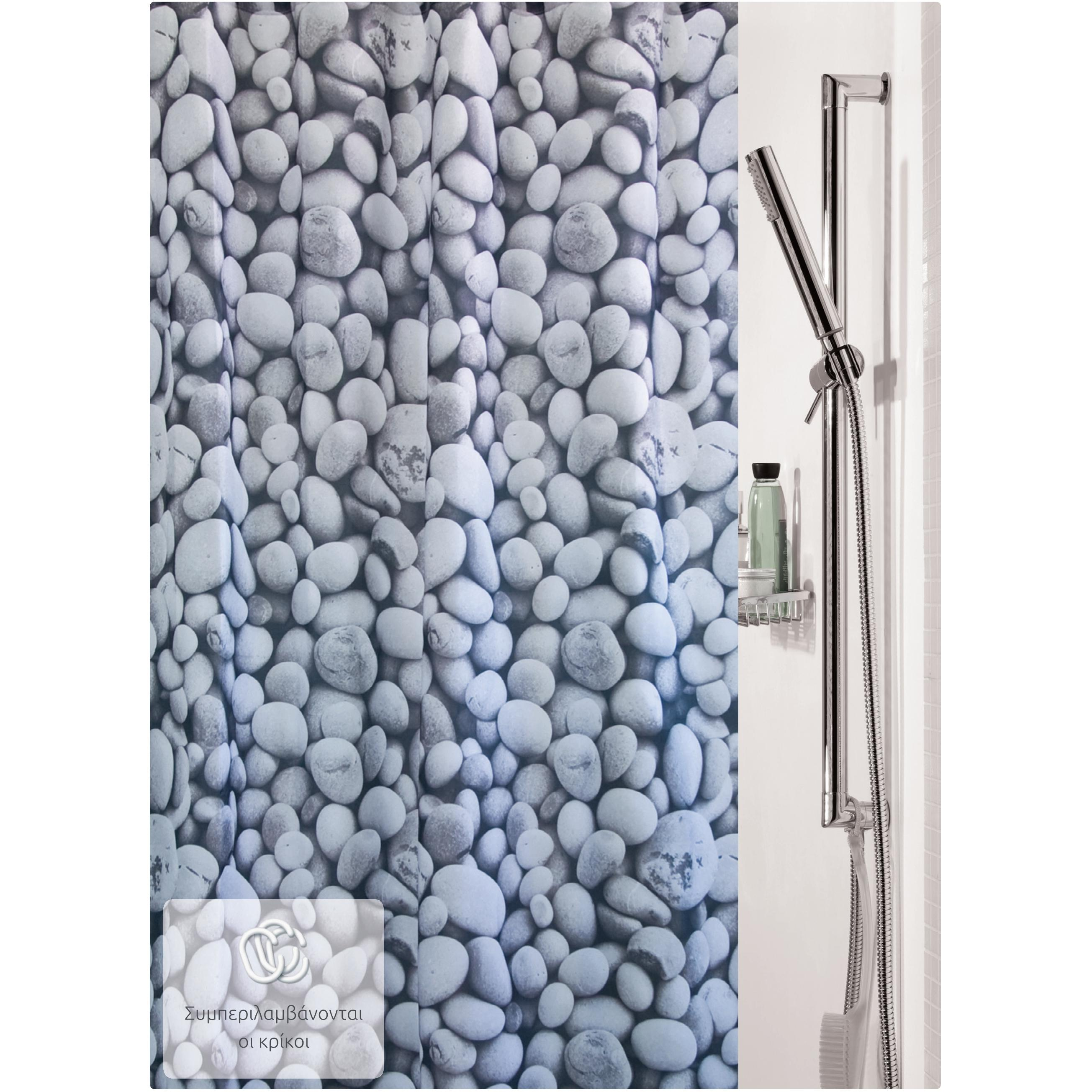 fabric shower curtain stones 100 polyester 180x200 cm. Black Bedroom Furniture Sets. Home Design Ideas