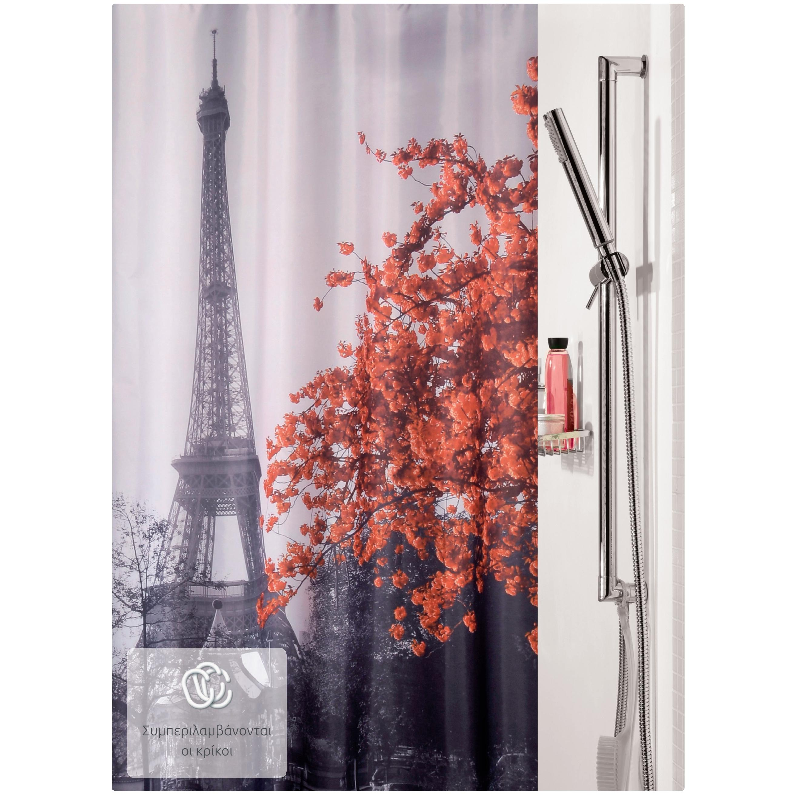 fabric shower curtain eiffel 100 polyester 180x200 cm. Black Bedroom Furniture Sets. Home Design Ideas