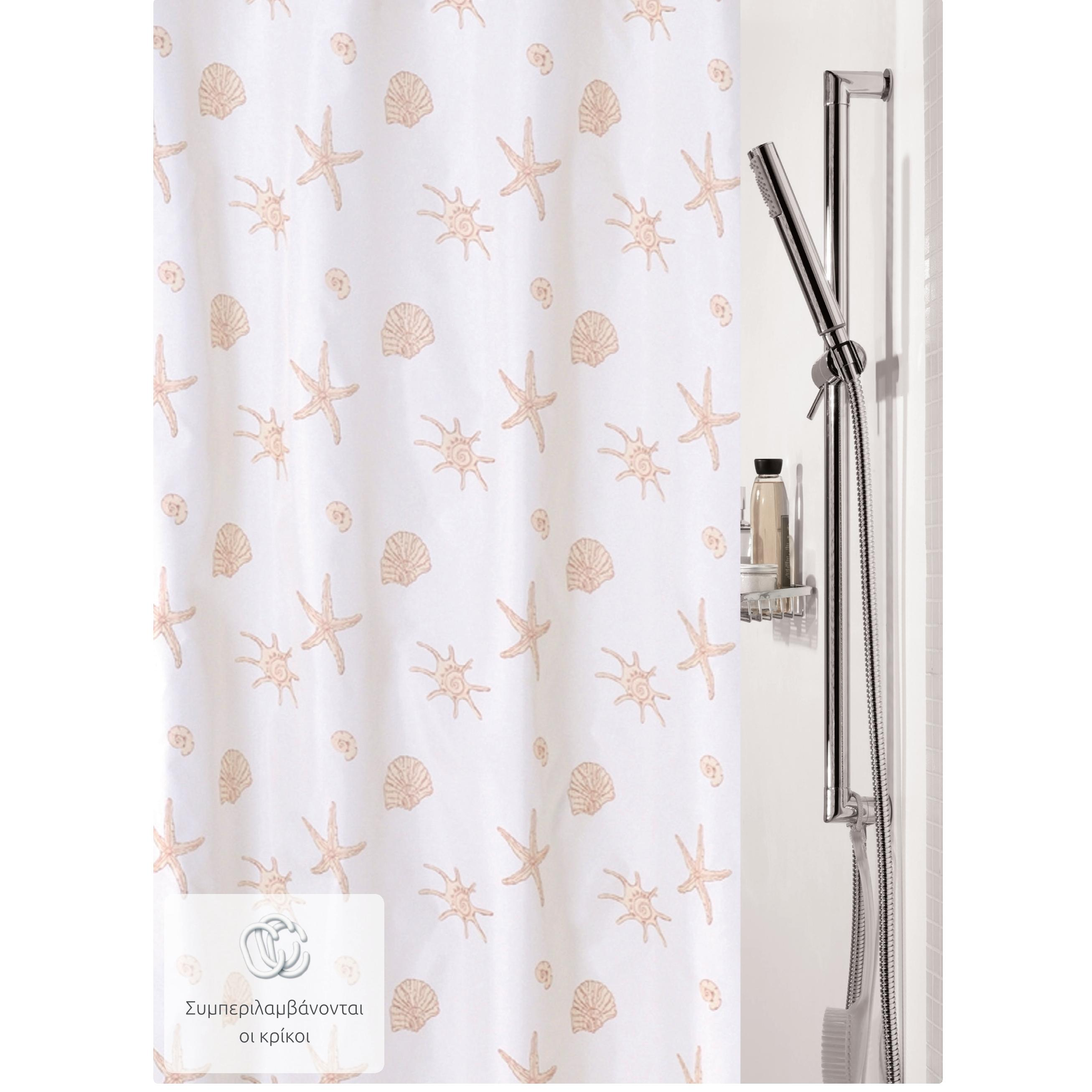 7a56a7a084c Υφασμάτινη κουρτίνα μπάνιου αστερίες 100% polyester 180X200 cm