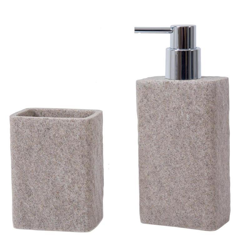 Σετ dispenser και ποτήρι ρητίνης stone