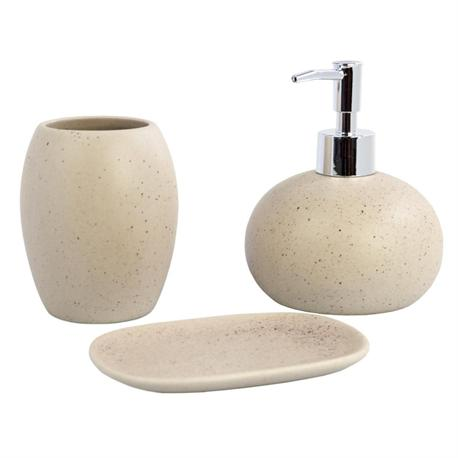 Set dispenser with glass and soap dish ceramic round