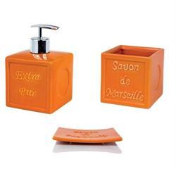 Set dispenser with glass and soap dish pottery orange savon