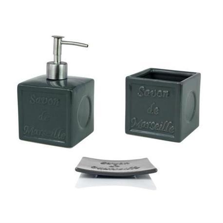 Set dispenser with glass and soap dish pottery dark grey savon