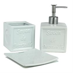 Set dispenser with glass and soap dish pottery white savon