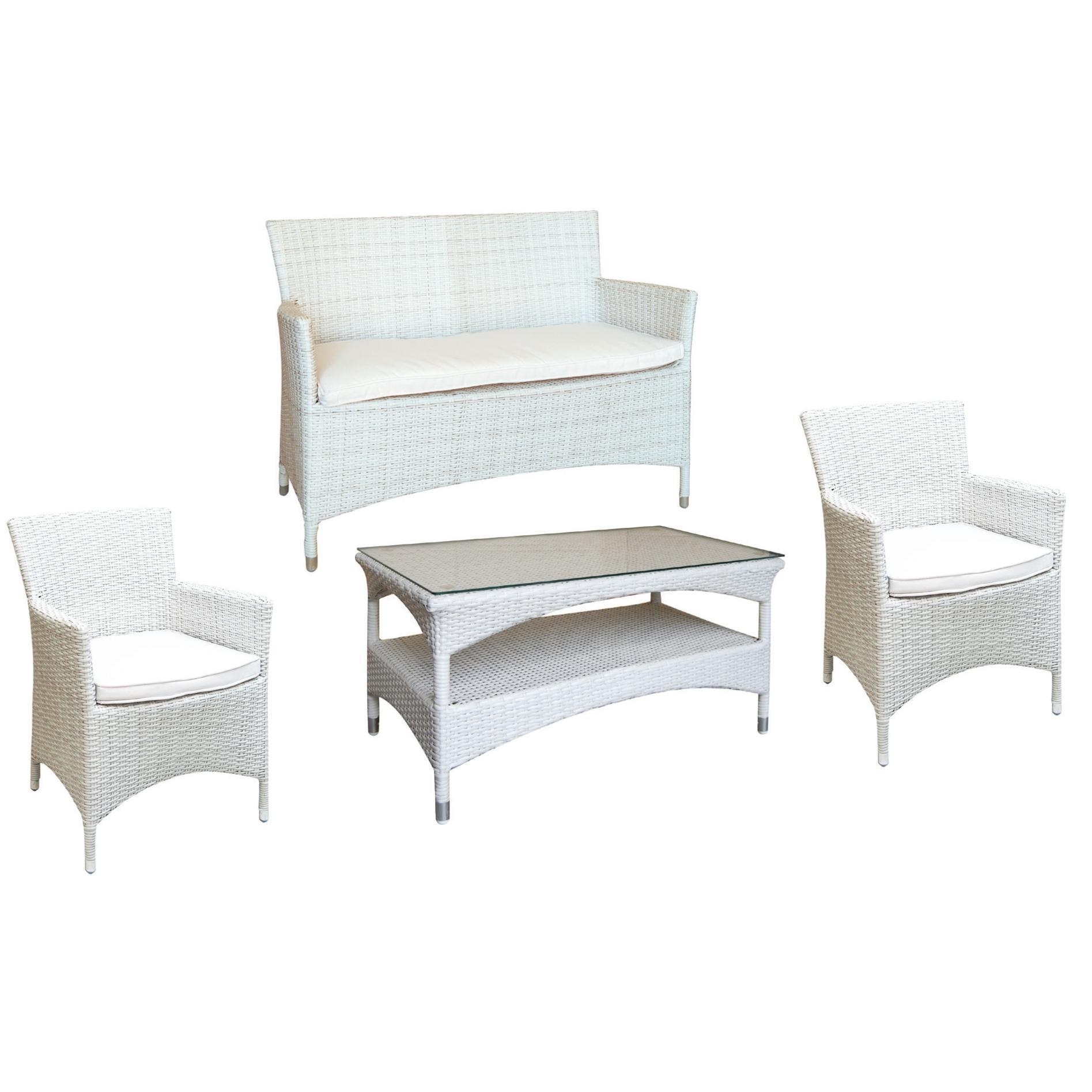 Set Sofa 2 Seats White Armchair Coffee Table